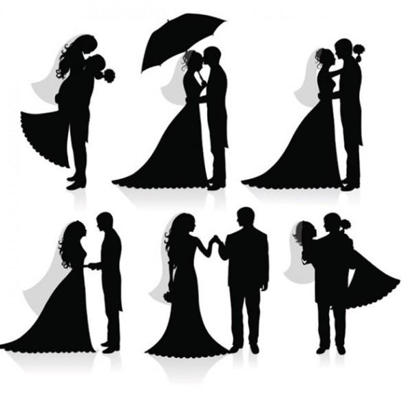 Wedding-silhouette-Free-Vector-600x600 ラブリーなウェディングシルエット6種類が無料でダウンロード出来ます。
