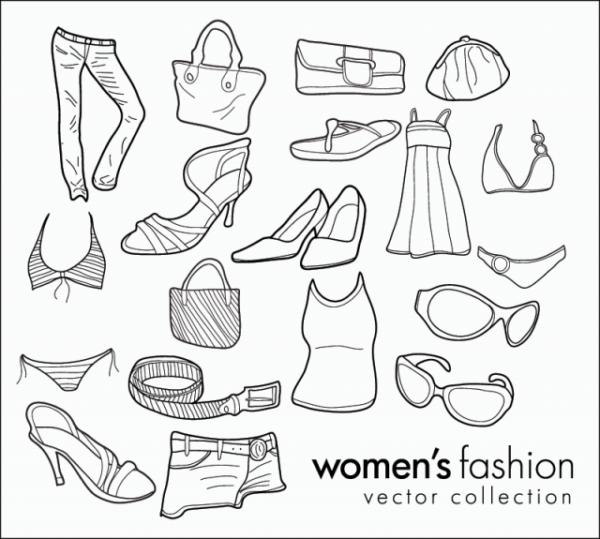 Womens-Fashion-Doodles-600x539 手書きが可愛い女子のファッションに関するガーリーな無料ベクタークリップアート素材