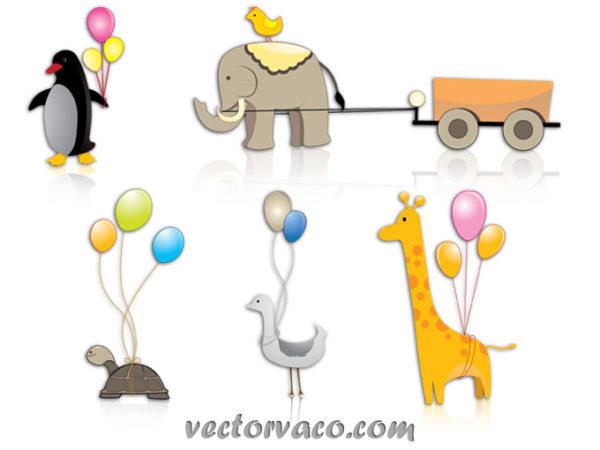 animal-cartoon-clipart-vectors-12030-600x450 風船付でかわいい5種類の動物。ベクタークリップアート素材