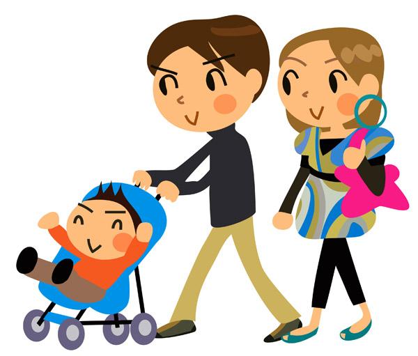 baby-in-buggy ベビーカーを押す家族を描いたベクタークリップアート素材