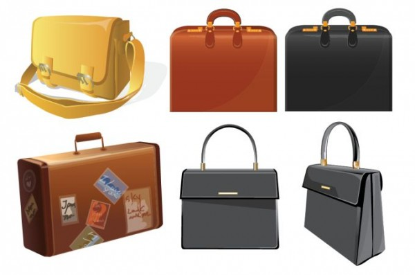 bag-vector-600x397 フリークリップアート素材。トランクやビジネスバッグなど6種類のカバン素材