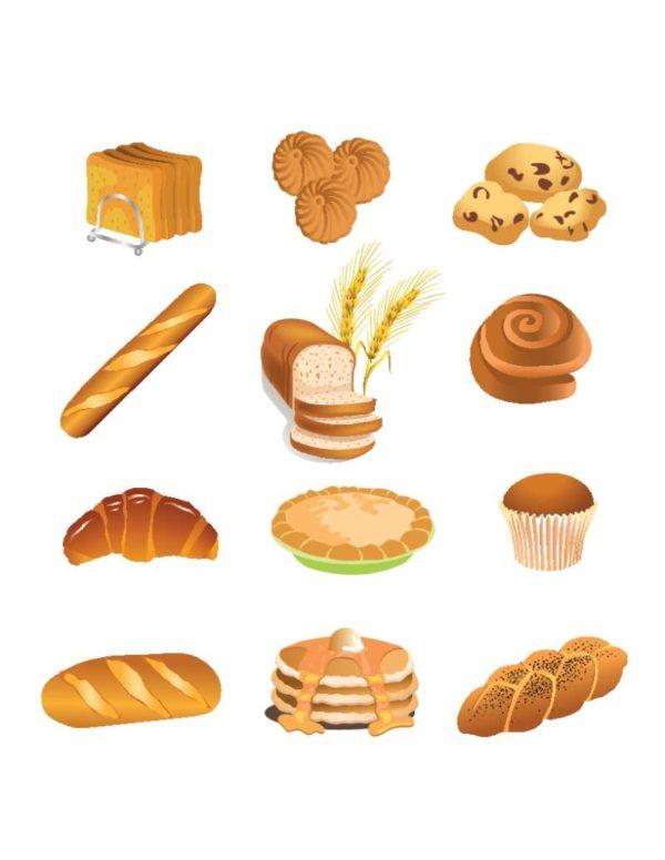 bakery-products-vector-600x776 おいしそうな無料ベクタークリップアート。パンやケーキのイラスト素材12個