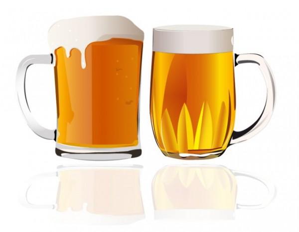 beer-vector-600x467 無料ベクタークリップアート。ジョッキから泡がこぼれそうなビール素材