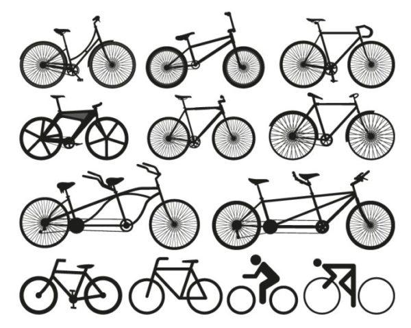 bicycle-vector-600x478 フリーベクターシルエット素材。自転車12種類