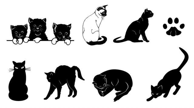 9匹の黒猫と足跡の無料ベクターイラスト素材
