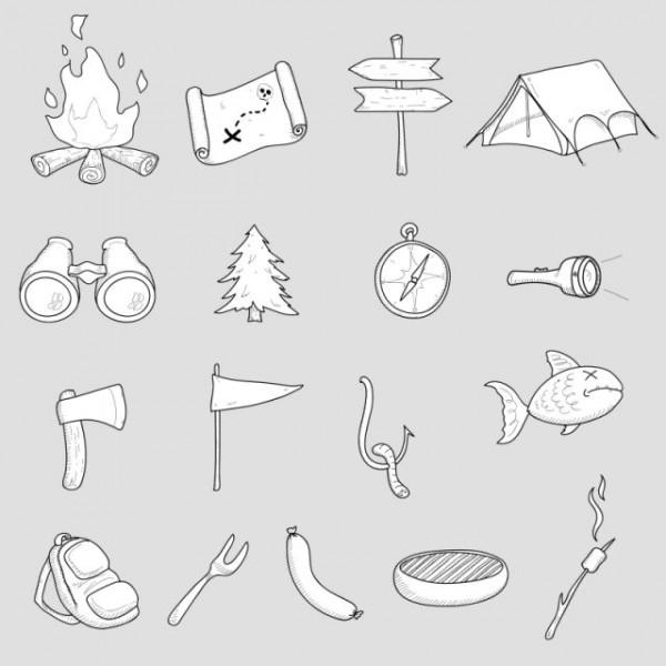 camping-doodle-set-600x600 宝探しやサバイバルなどキャンプグッズに関連の有るイラスト素材。