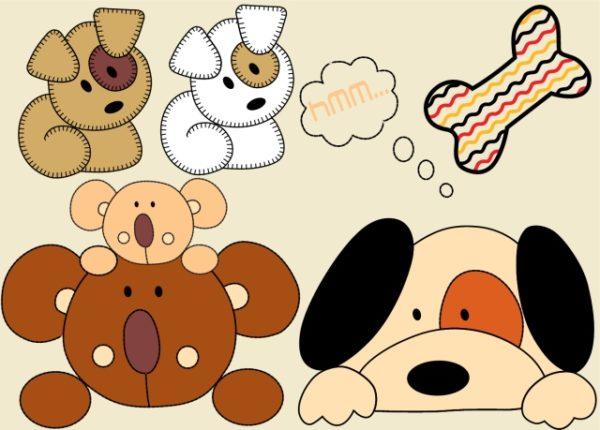 cartoon-cute-dog-vector-art-600x430 ぬいぐるみのようにかわいい犬のクリップアート素材