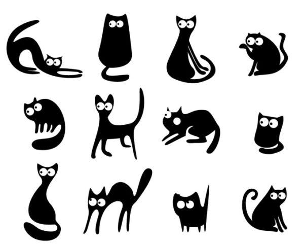 cats-vector-600x485 滑らかなラインが特長!キュートな黒猫の無料ベクターイラスト素材。