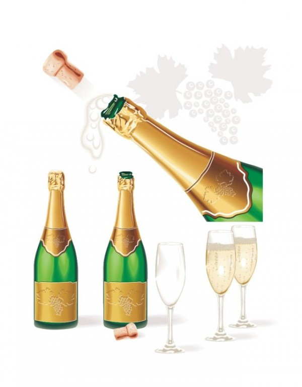 champagne-bottle1-600x769 栓がが抜けた瞬間のシャンパンボトル。無料ベクターイラスト素材
