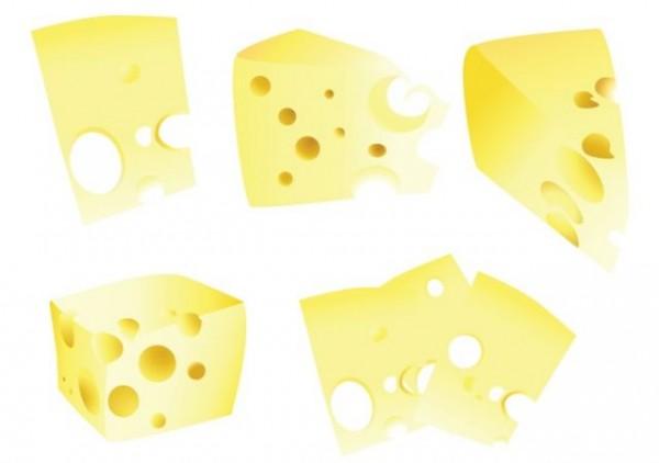 cheese-vector-600x422 5つのカタチ!切り取ったチーズの無料ベクタークリップアート素材