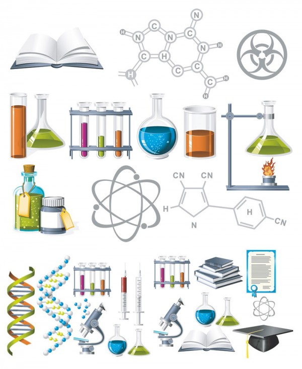 chemistry-vector-clipart-600x733 化学の実験室に関係するアイテム集。無料ベクタークリップアート