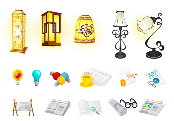 china-style-600x416 ランプや眼鏡など読書に関連するクリップアート素材