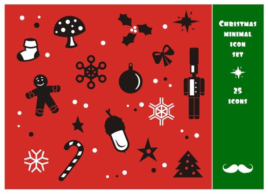 christmas_set クリスマスの飾りをモチーフにした、かわいいアイコン集。無料ベクターシルエット素材