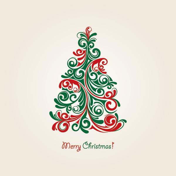 christmas_tree_vector Xmasカードをアートに決める!無料ベクターイラスト素材