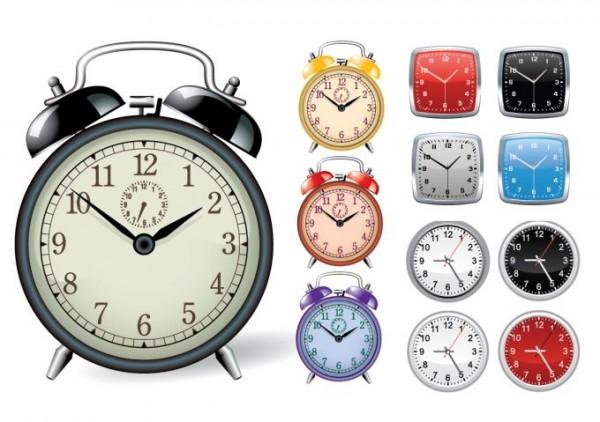 clock-vector-600x422 無料ベクタークリップアート。目覚まし時計と壁掛け時計