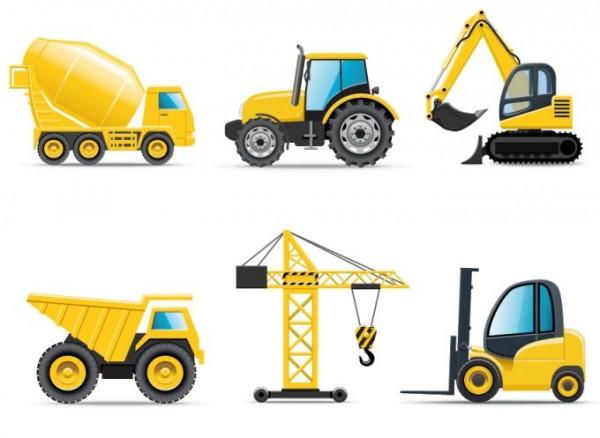 construction-vehicles-600x438 6台の工事車両(ダンプ・ミキサー・リフト・クレーンなど)無料ベクタークリップアートspざい
