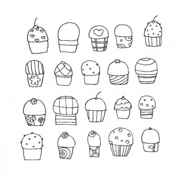 cupcakes-vector-by-dezignation-600x601 無料で手書きのかわいいカップケーキ。20個のベクターイラスト素材