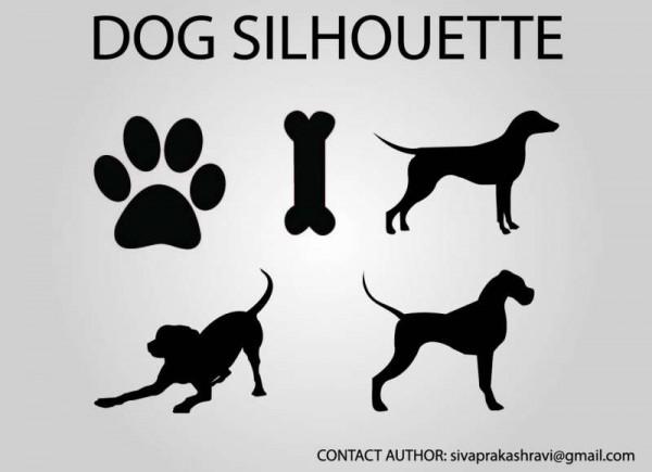 dog-vectors-600x435 無料ベクターシルエット素材。犬のシルエット・足跡やおやつの骨など