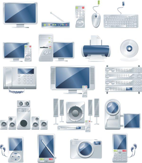 electronic-equipment-600x685 ハイテク最新家電やパソコン関連のクールな無料ベクタークリップアート素材