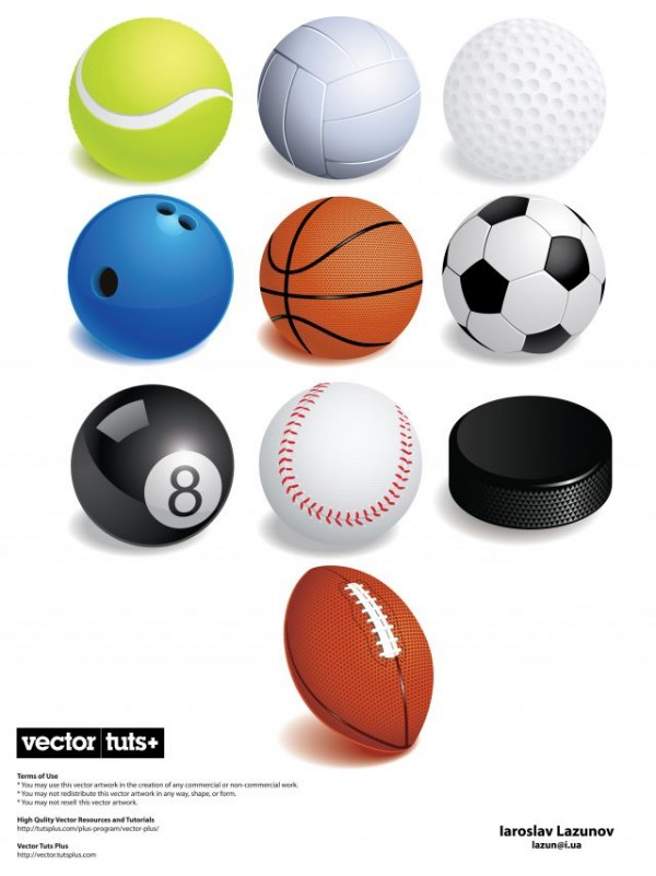 exclusive-freebie-pack-shiny-vector-sports-balls1-600x801 10種類のスポーツ用ボールの無料ベクタークリップアート素材