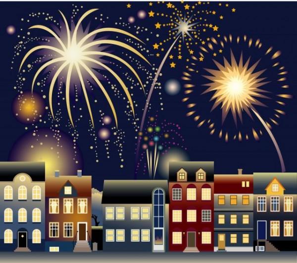 fireworks-600x531 近頃は夏だけで無く新年の風物詩にもなりつつある花火の無料ベクターイラスト素材