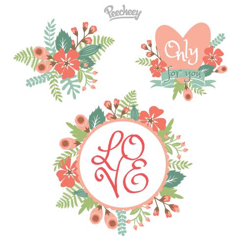 flowers5 レトロなお花のクリップアート・ラベル素材(3種類)