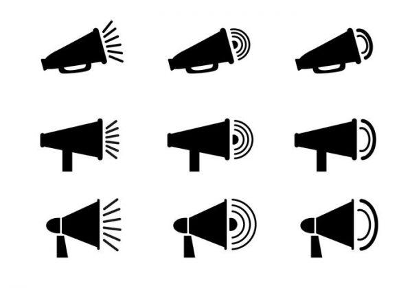 free-megaphone-icon-vector-600x420 シンプルなアイコンタイプのメガホンクリップアート素材9種類