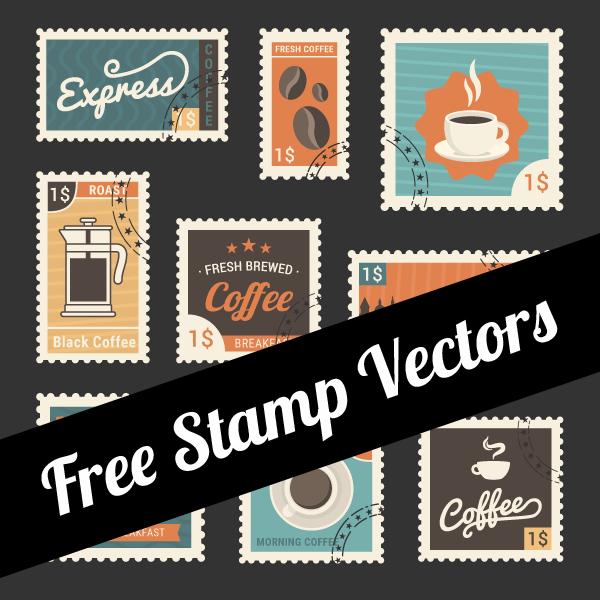 free-stamp-vectors-600x600 珈琲のイラストが描かれたおしゃれなベクター切手素材9種類