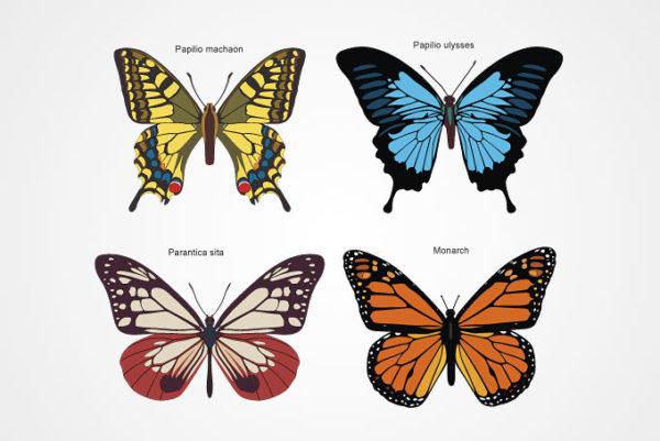 free-vector-butterflies-0822-600x401 アゲハチョウなど4種類の蝶の無料ベクターイラスト素材