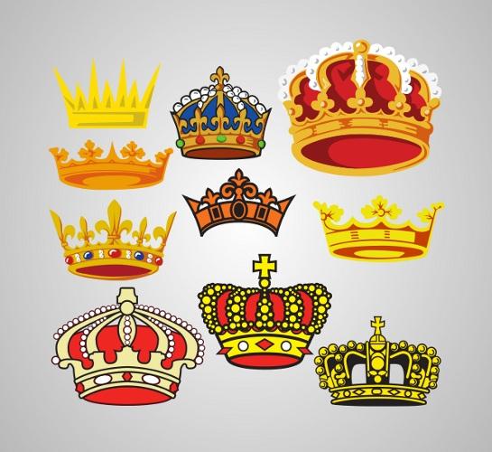 free-vector-crowns 豪華な王冠が10個。無料ベクタークリップアート素材