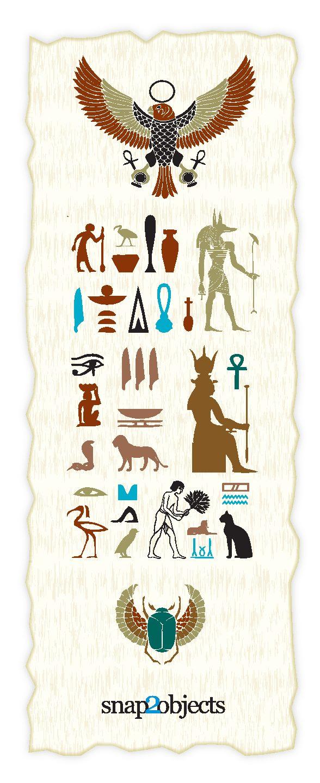 free-vector-egyptian-elements-0815 エジプトの壁画(ホルスの目、コガネムシ、アンク記号、蛇など)無料ベクターイラスト素材