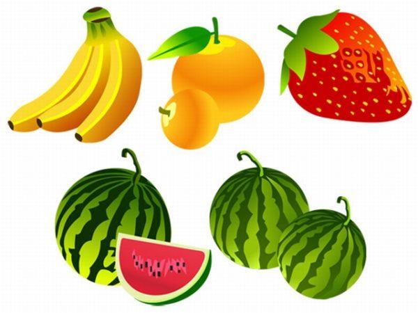 free-vector-fruit-540-600x450 4種類のフレッシュフルーツ(バナナ・オレンジ・イチゴ・スイカ)無料ベクタークリップアート
