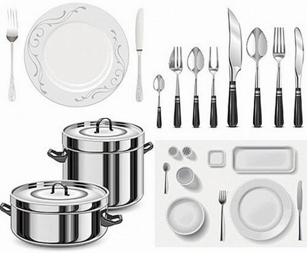 free-vector-kitchen-utensils-600x496 キッチンに関連するアイテムをリアルに描いたベクターグラフィック素材