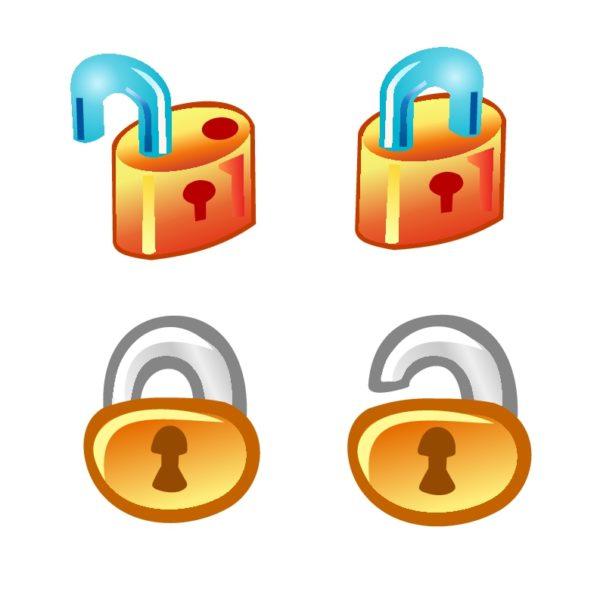 free-vector-lock-icons-600x589 かわいい鍵(南京錠)のベクタークリップアート素材