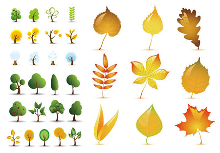 free-vector-tree-and-leaves-icons ほのぼのとした雰囲気!ツリーのクリップアート素材