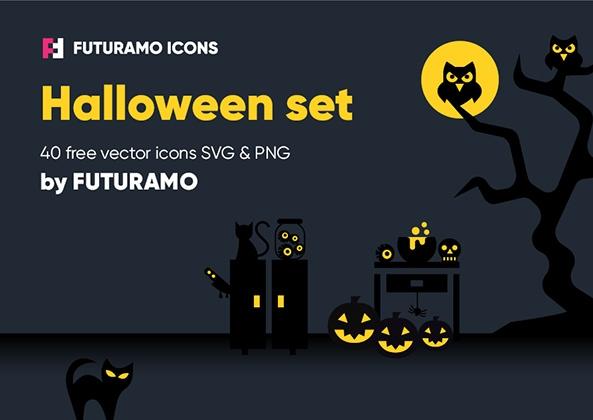 futuramo-halloween-01 とっても怖いハロウィンアイコン(ベクター、40種類、4スタイル)