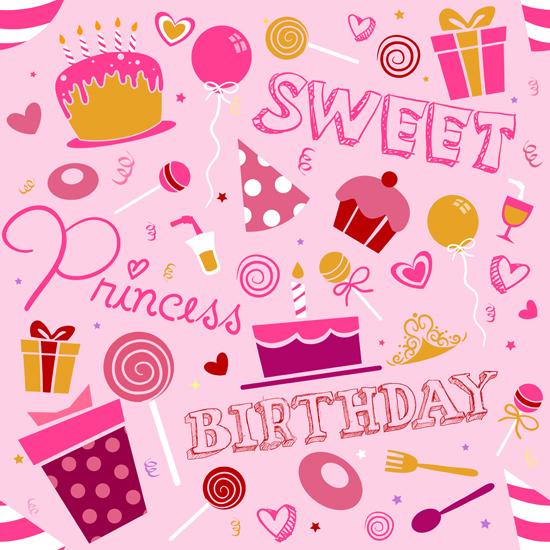 girlish_birthday_pattern ケーキ・スイーツなど、お誕生日に関連のあるかわいいイラスト素材