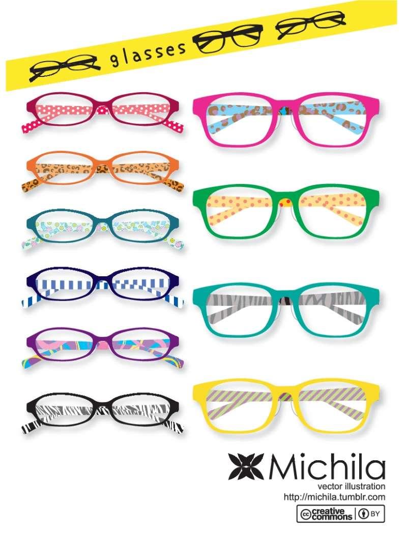 アートな柄が入った眼鏡フレーム10種類。無料ベクタークリップアート