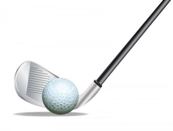 golf-vector-600x454 ゴルフボールとアイアンクラブのイラスト素材。