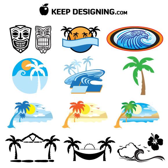 hawaii-beach-tiki_mask-hut-wave-palm-tree-vectors-kd 南国リゾートをイメージした無料ベクタークリップアート素材