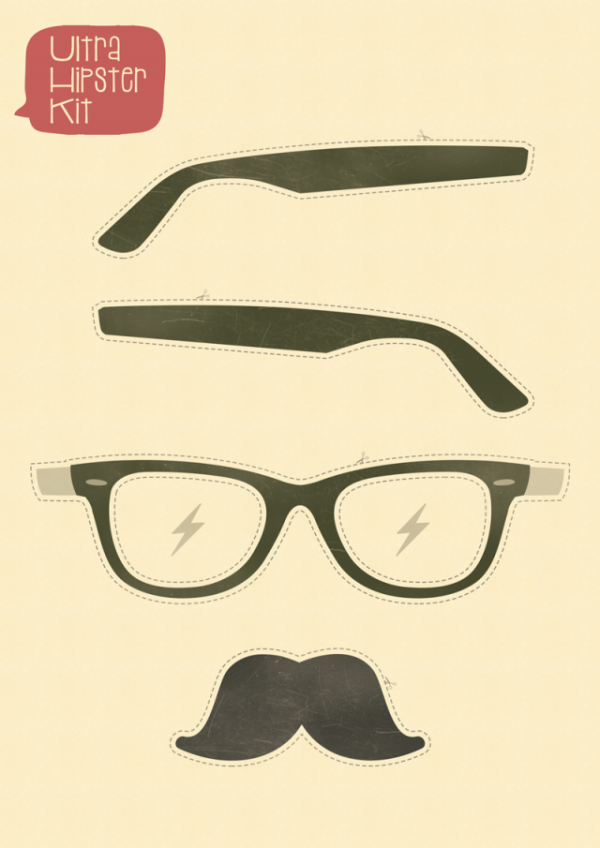 hipsterkit-600x848 ヒップスター必須アイテム。メガネとヒゲの無料のベクタークリップアート素材