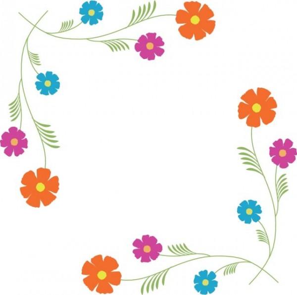 kosumosukei2-600x595 かわいい花の飾り枠。無料のベクターイラスト素材