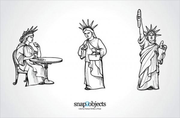 liberty_statue_strikes_a_pose-600x393 おちゃめな3種類の自由の女神像。無料ベクターイラスト素材
