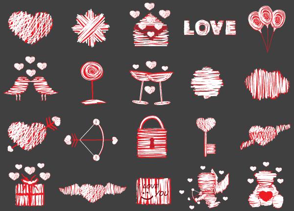 love-vector-elements-illustrator-pack-600x430 20種類のかわいいくてラブリーな落書き風ベクターイラスト素材