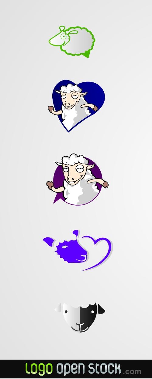 lovely-sheeps-logo-pack-02 ロゴタイプのユニークな羊のベクターイラスト5種類。干支(未)