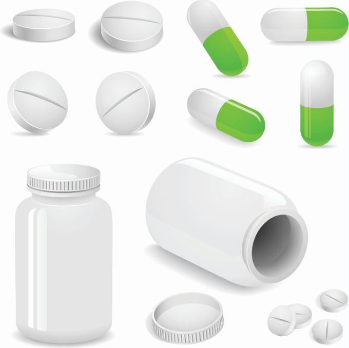 無料ベクタークリップアートお薬のイラスト素材錠剤カプセルビン