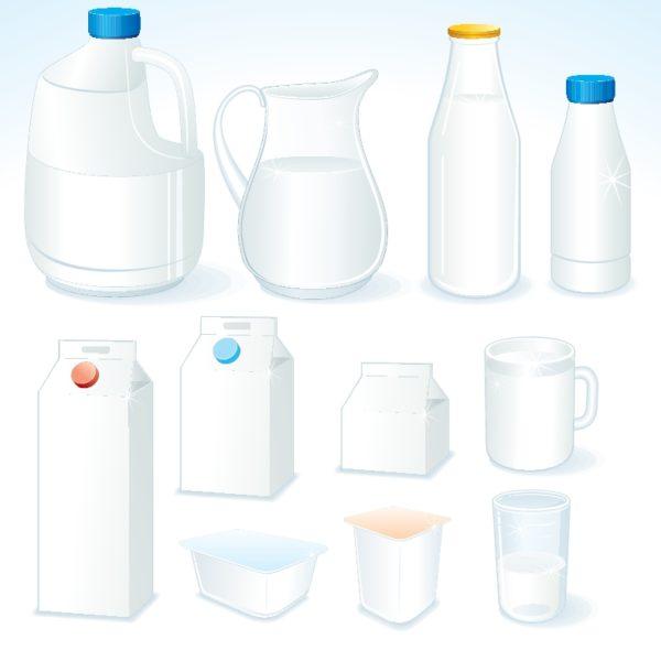 milk-vector-600x600 フリーベクタークリップアート。様々な牛乳(ミルク)容器のイラスト素材