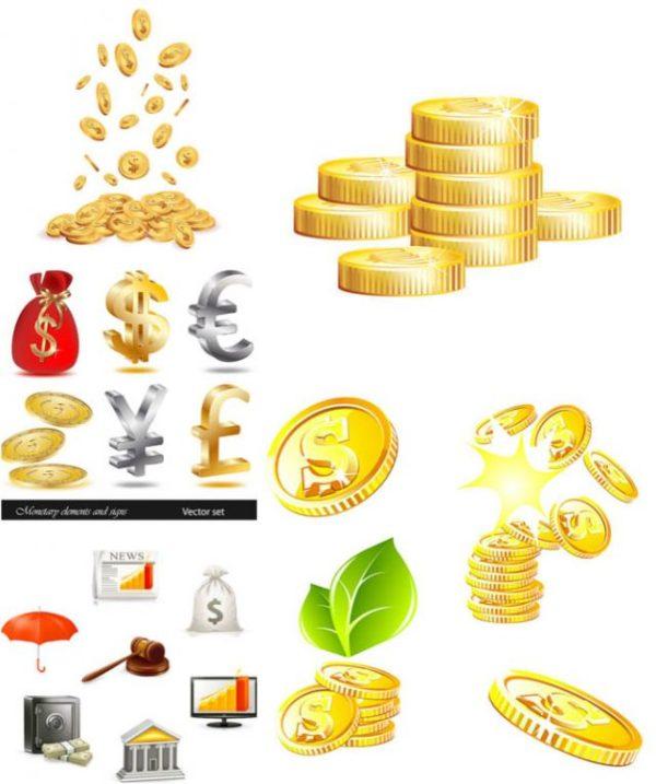 money-vector-clipart-600x717 コイン・ドル袋などお金に関する無料ベクターイラスト素材