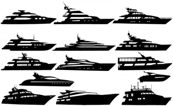 motor_yacht_vector-600x370 カッコいい豪華クルーザーの無料ベクターシルエット素材