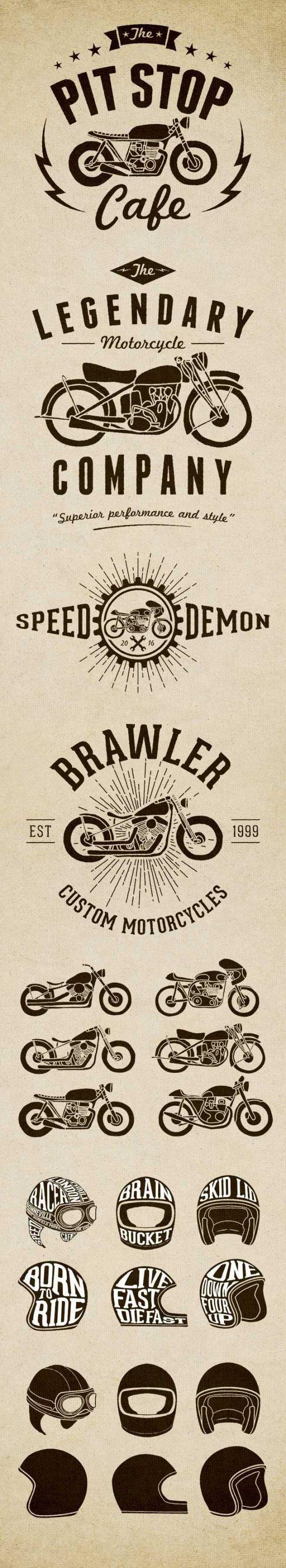 motorcycle-logos-600x3285 手書きの魅力!ビンテージバイクのベクターLOGOイラスト素材集